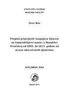 prikaz prve stranice dokumenta Pregled prijavljenih nuspojava lijekova na hepatobilijarni sustav u Republici Hrvatskoj od 2005. do 2013. godine od strane zdravstvenih djelatnika